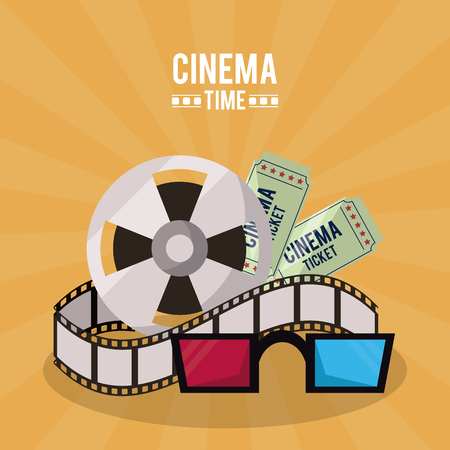 colorful poster of cinema time with film reel and tickets and 3D glasses vector illustration