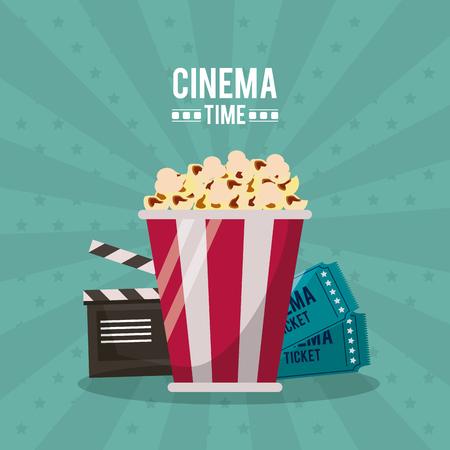 カチンコとクローズ アップ ベクトル図にポップコーンの後ろにチケットと映画時間のカラフルなポスター