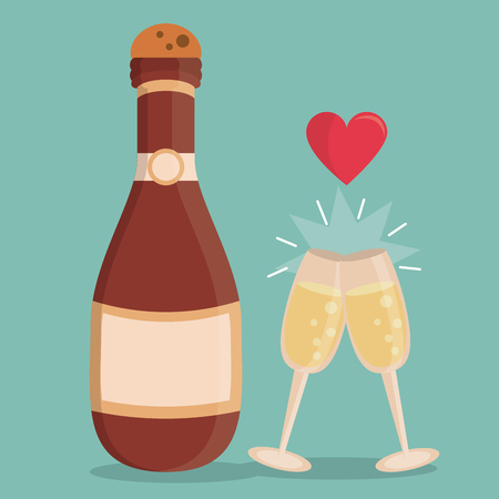 popping cork: color background with champagne bottle and champagne glasses with heart on top vector illustration