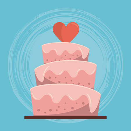 colorful background of wedding cake with heart on top vector illustration