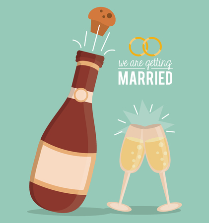 colorful poster of we are getting married with champagne bottle with cork blow up and champagne glasses vector illustration