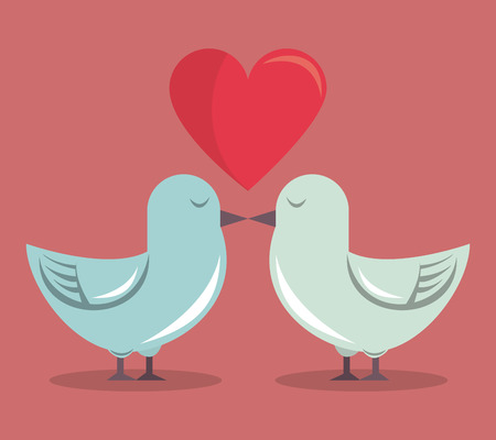 color background with heart and couple of pigeons vector illustration