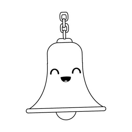 kawaii bell with chain antique traditional vector illustration