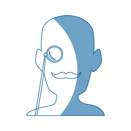 silhouette man portrait wear monocle vector illustration Illustration