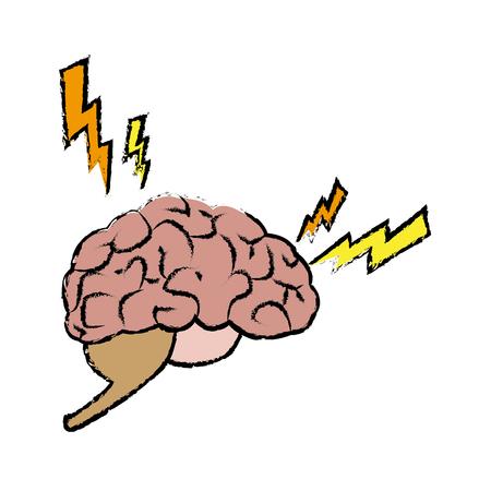 hospital patient: Human brain, in pain or sick organ vector illustration Illustration