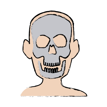 X-ray of a head bone structure of human, medical health vector illustration Illustration