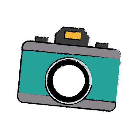 photo camera device picture lens flash icon vector illustration Illustration