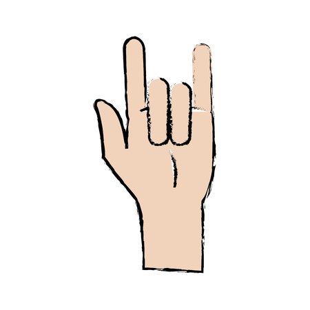 cartoon hand rock and roll sign vector illustration