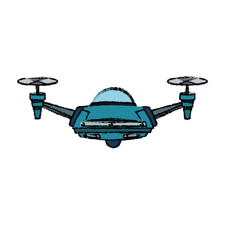 drone with action camera front view vector isolated sign