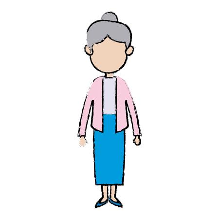 家族のベクトル イラストのかわいいおばあさんメンバー大人  イラスト・ベクター素材