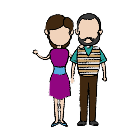 couple father and mother together hugging vector illustration Illustration
