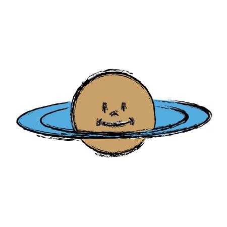 cartoon planet saturn space astronomy vector illustration Illustration