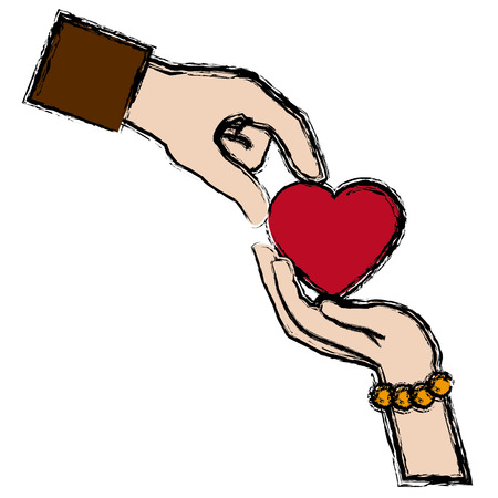 couple hands man and female giving heart love concept vector illustration Illustration