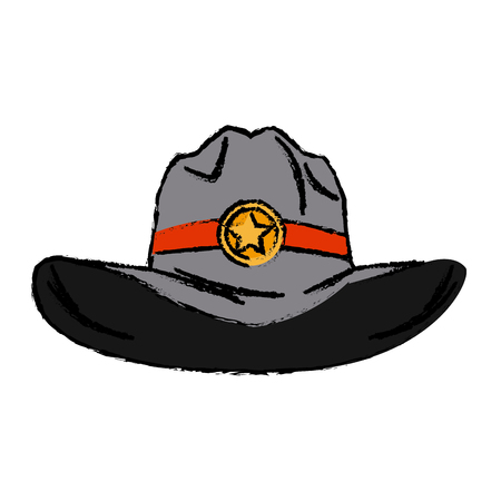 old western sheriff hat with insignia star vector illustration
