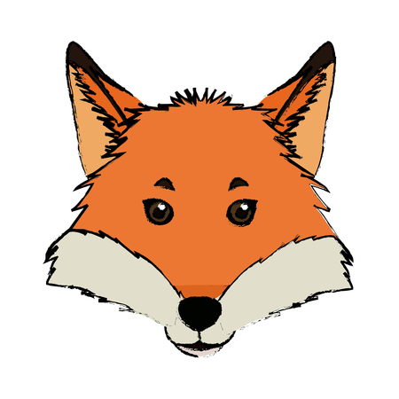 head fox animal wildlife nature image vector illustration Çizim
