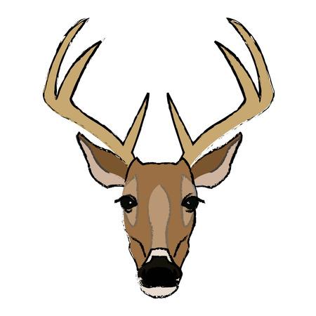 horny: deer antlers animal wildlife image vector illustration