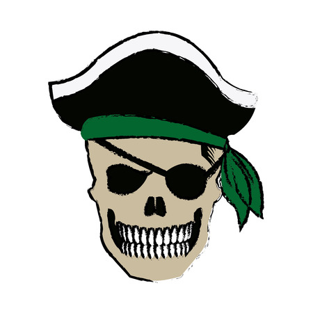 pirate skull wearing a pirate captains hat and an eye patch vector illustration
