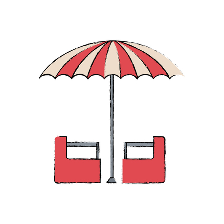 entertainers: red and white umbrella circus equipment vector illustration
