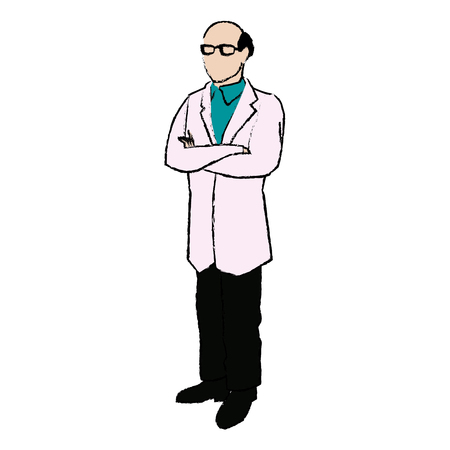 doctor male bald glasses and coat clothes medical vector illustration