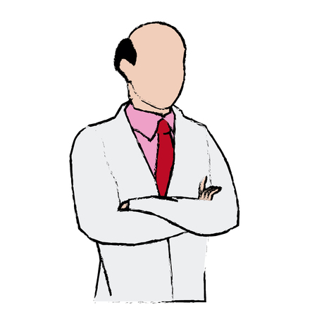 doctor male bald with arms folded vector illustration Illustration