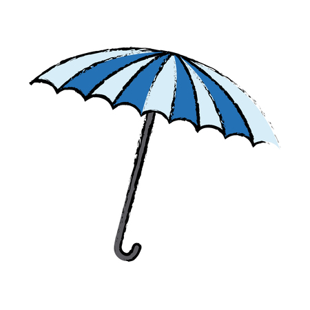 blue and white umbrella circus equipment vector illustration