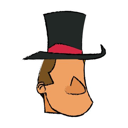 host: cartoon host man with top hat circus festival vector illustration