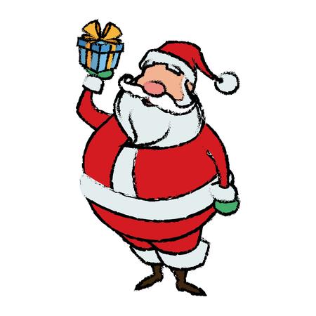 cartoon santa claus holding gift box for your christmas vector illustration Ilustração