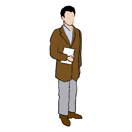 male doctor with lab coat in his office holding a clipboard vector illustration