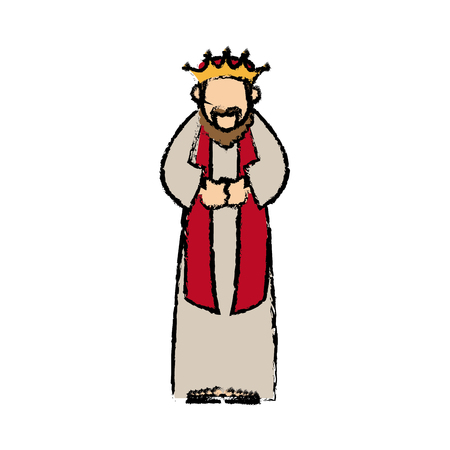 cartoon man king of orient manger nativity vector illustration Illustration