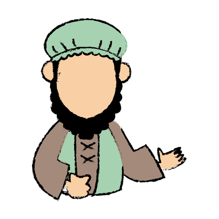 cartoon man of orient christian design vector illustration Illustration