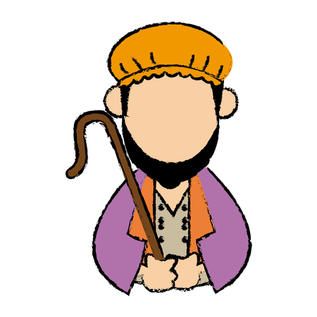 cartoon shepherd holding stick with tunic and turban vector illustration Illustration