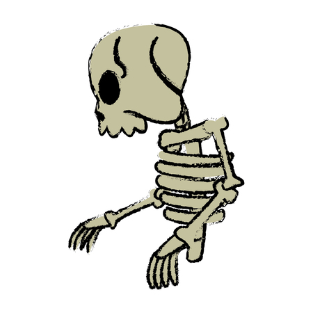 comic skeleton human walk character vector illustration