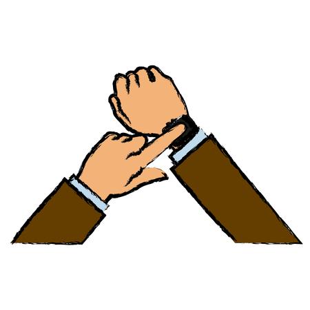 touch screen interface: hand man business smart watch apps gadget vector illustration