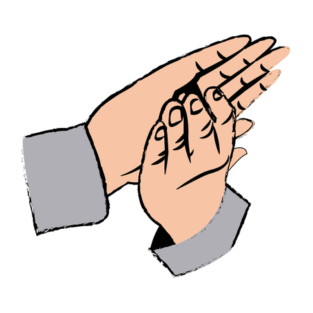 applauding: hands man clapping applause gesture vector illustration