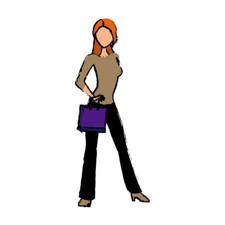 young woman standing character holding paper bag shop vector illustration