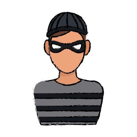mysterious man with the mask hat hacker vector illustration Illustration