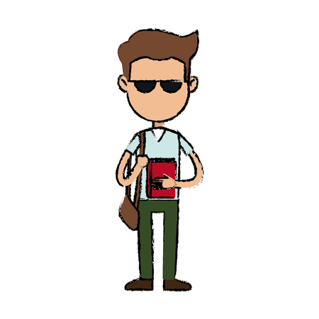 lesson: boy cartoon student character with sunglasses book bag vector illustration