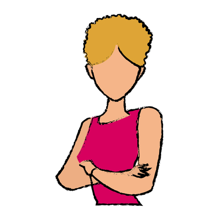 folded arms: portrait female woman cartoon gesture image vector illustration