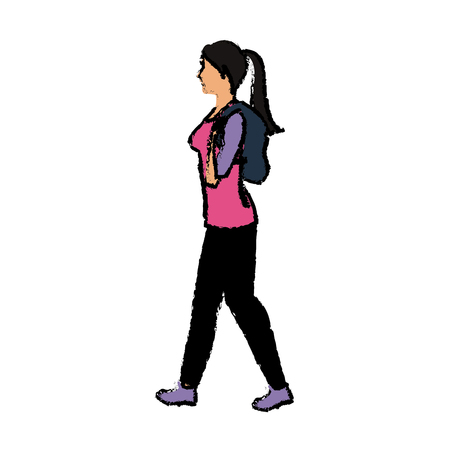 Young woman walking with backpack vector illustration
