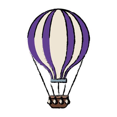 airballoon adventure recreational fly basket vector illustration