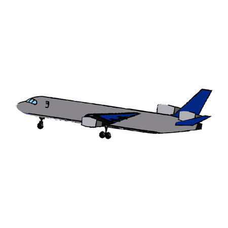 Airplane flying commercial travel airline concept vector illustration