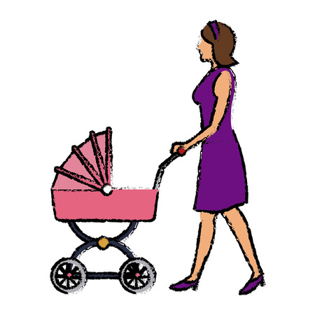 Mother pushing pink baby carriage vector illustration Illustration