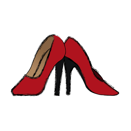 pair of modern fashionable women shoes shot in studio vector illustration