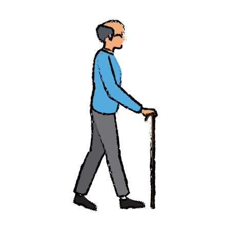 elderly man bald walk with cane vector illustration Illustration