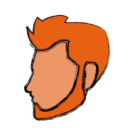 cartoon head young man faceless character vector illustration