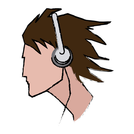 shaver: young man profile user headphones vector illustration