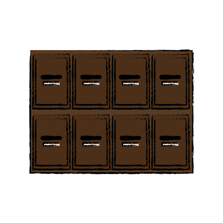 faculty: locker wooden mailboxes postal image vector illustration