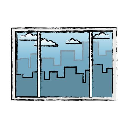 window interior building urban view vector illustration