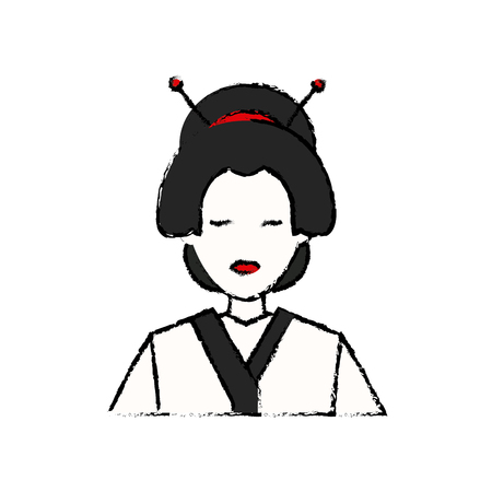 character japanese girl geisha traditional costumen vector illustration