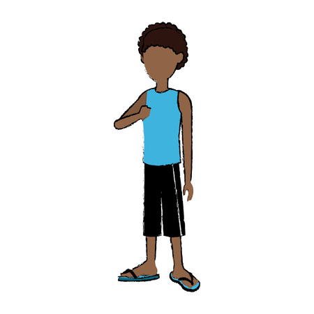 teenage boy cartoon posing traveler vacation vector illustration Illustration